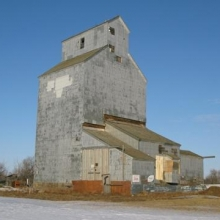 McCabe's Grain Elevator, RM of Baildon 131  Origin:1913  Image:Robertson  Now located at Sukanen Ship Pioneer Village and Museum, 12km south of Moose Jaw